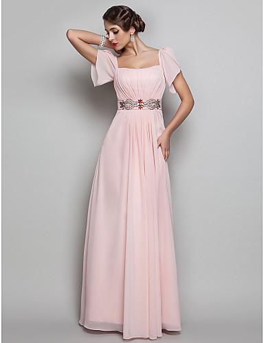Sütun Kare Yaka Yere Kadar Şifon Boncuklama Drape ile Balo / Resmi Akşam / Askeri Balo Elbise tarafından TS Couture®