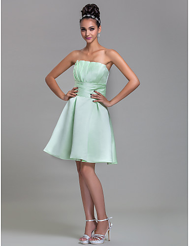 A-Line Strapless Knee Length Satin Bridesmaid Dress with Draping Ruched by LAN TING BRIDE®