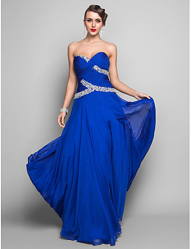 Sheath / Column Sweetheart Floor Length Chiffon Prom Formal Evening Military Ball Dress with Crystal Detailing Ruched Criss Cross Split