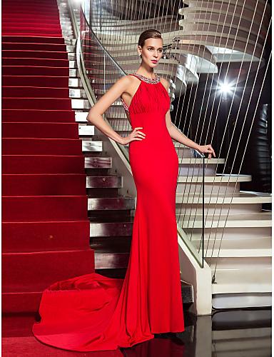 Sütun Boyundan Bağlamalı Süpürge / Fırça Kuyruk Jarse Kristal Detaylar Drape ile Resmi Akşam Elbise tarafından TS Couture®