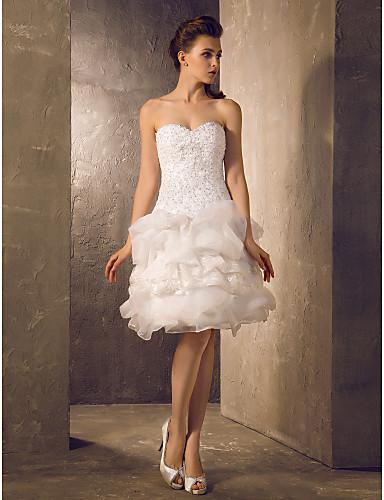 A-Linie   Princess Srdcový výstřih Ke kolenům Krajka   Organza Svatební šaty  vyrobené na fe4ba0fec5