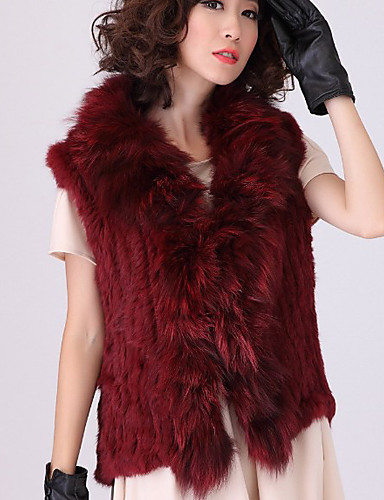 Fur Vest With Sleeveless Shawl Rabbit Fur And Fox Fur ...