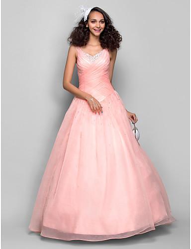 Ballkleid Prinzessin Riemen Boden-Länge Organza Abiball / Formeller Abend Kleid mit Perlenstickerei Gerafft Überkreuzte Rüschen durch TS