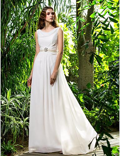 Sheath / Column Cowl Neck Sweep / Brush Train Chiffon Wedding Dress with Crystal Pearl Sash / Ribbon Side-Draped by LAN TING BRIDE®