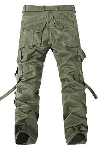 Men's Mid Waist Chinos Pants, Simple Cargo Solid Cotton Winter Fall
