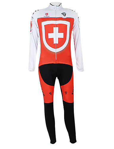 cheap Cycling Clothing-Malciklo Men's Women's Long Sleeve Cycling Jersey with Tights Red and White Switzerland Champion National Flag Bike Clothing Suit Windproof Quick Dry Waterproof Zipper Sports Polyester Elastane