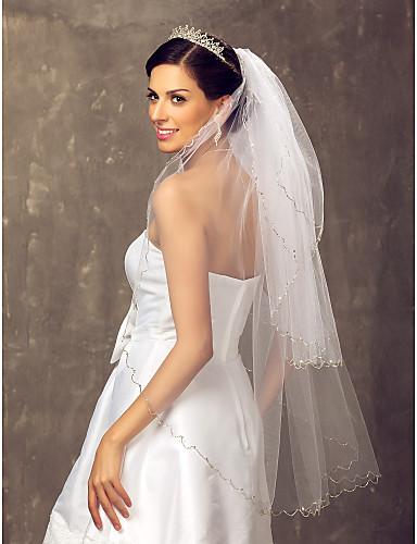 Drittschichtig Hochzeitsschleier Fingerspitzenlange Schleier Mit 39,37 in (100cm) Tüll A-linie,Ball Kleid, Prinzessin,Klassisches Kleid,