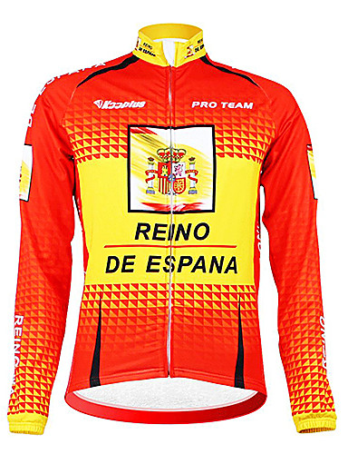 cheap Cycling Clothing-Malciklo Men's Long Sleeve Cycling Jersey Spain Champion National Flag Bike Jersey Top Thermal / Warm Fleece Lining Breathable Sports Winter Polyester Fleece Mountain Bike MTB Road Bike Cycling