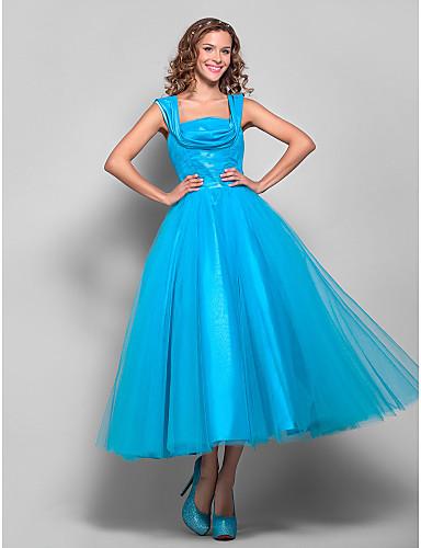 Ballkleid Quadratischer Ausschnitt Tee-Länge Tüll Abiball Kleid mit Drapiert / Gerafft durch TS Couture®