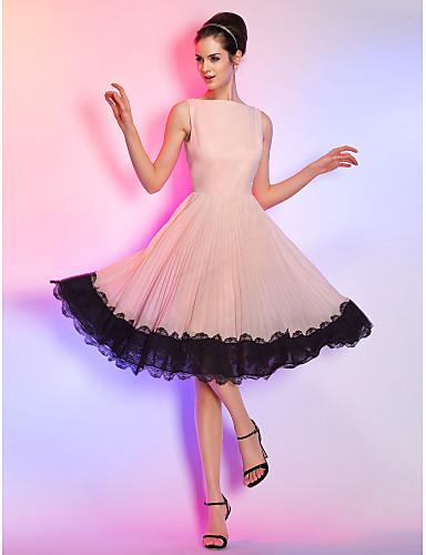 billige Formelle dresser-A-linje Båthals Knelang Chiffon / Snøringsblonder Kjole med Blondeinnlegg av TS Couture®