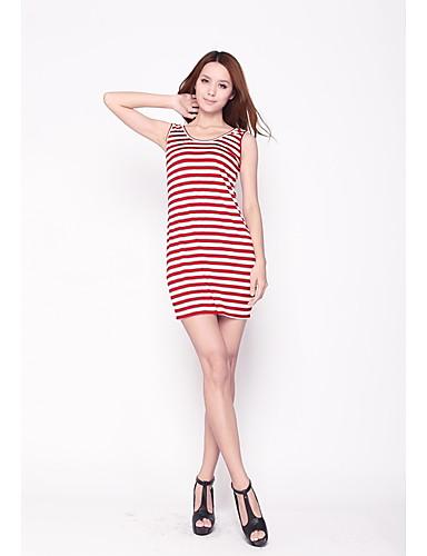 Zoely Sexy gât Contrast culoare Stripe Teaca Bow Durata genunchi Exclude Belt Dress