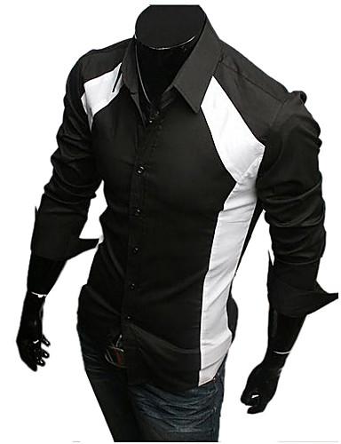 Pánské Jednobarevné Denní nošení / Pracovní Dlouhý rukáv Směs bavlny Košile Černá / Bílá