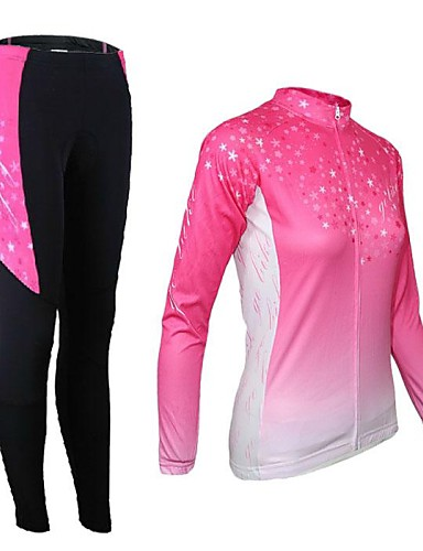 cheap Cycling Clothing-21Grams Women's Long Sleeve Cycling Jersey with Tights - Pink Gradient Bike Tights Clothing Suit Thermal / Warm Breathable 3D Pad Quick Dry Sports Elastane Gradient Mountain Bike MTB Road Bike Cycling