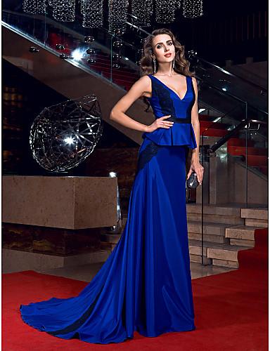 Sütun V Yaka Süpürge / Fırça Kuyruk Streç Saten Dantel / Kurdeleler ile Resmi Akşam Elbise tarafından TS Couture® / Açık Sırtlı