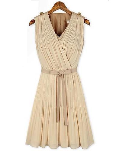 Women's A Line Dress,Solid V Neck Above Knee Sleeveless ...