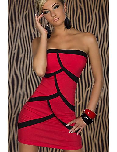 YSM Kvinders Sexy Off The Shoulder Red Special Mønster Skede Bodycon Dress