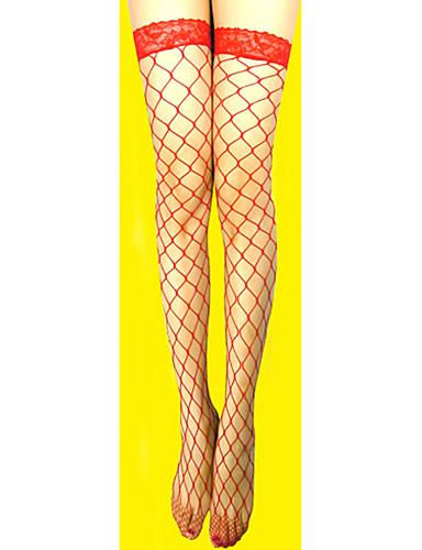 Dame Patchwork Nylon Blondelukning Strømper Tynde Hvid Sort Rød