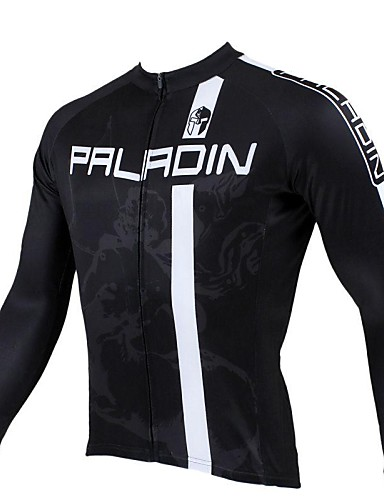 688420d1a ILPALADINO Men s Long Sleeve Cycling Jersey - Black Stripes Bike Jersey Top  Thermal   Warm Breathable Quick Dry Sports 100% Polyester Mountain Bike MTB  Road ...
