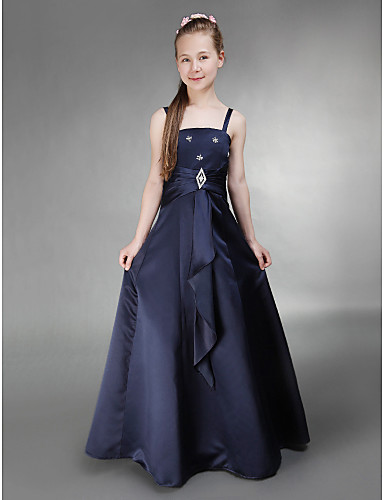 ccbd93dfa A-Line / Princess Spaghetti Strap Floor Length Satin Junior Bridesmaid Dress  with Side Draping / Crystal Brooch by LAN TING BRIDE® / Spring / Summer /  Fall ...
