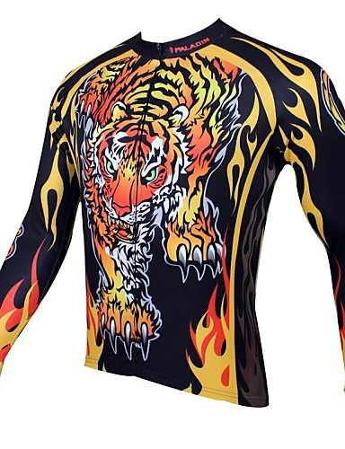 cheap Cycling Clothing-ILPALADINO Men's Long Sleeve Cycling Jersey Animal Bike Jersey Top Thermal / Warm Breathable Quick Dry Sports 100% Polyester Mountain Bike MTB Road Bike Cycling Clothing Apparel