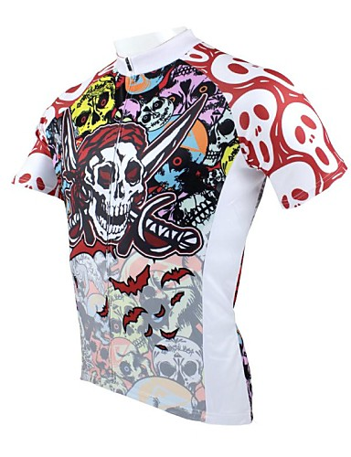 cheap Cycling Clothing-ILPALADINO Men's Short Sleeve Cycling Jersey Skull Bike Jersey Top Breathable Quick Dry Ultraviolet Resistant Sports 100% Polyester Mountain Bike MTB Road Bike Cycling Clothing Apparel