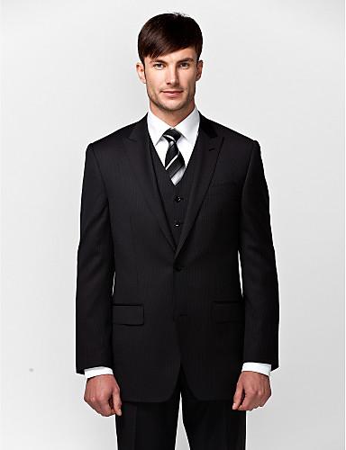 Schwarz Solide Reguläre Passform Wolle / Polyester Anzug - Schlankes steigendes Revers Einreiher - 2 Knöpfe