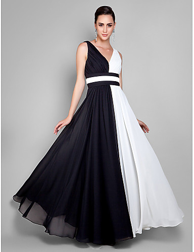 Sheath / Column V Neck Ankle Length Chiffon Prom / Formal Evening Dress with Draping Color Block Side Draping by TS Couture®