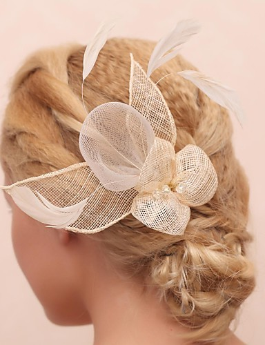 Women's Flower Girl's Feather Tulle Headpiece-Wedding Special Occasion Outdoor Flowers