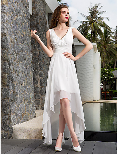 A-Line V Neck Asymmetrical Georgette Made-To-Measure Wedding Dresses ...