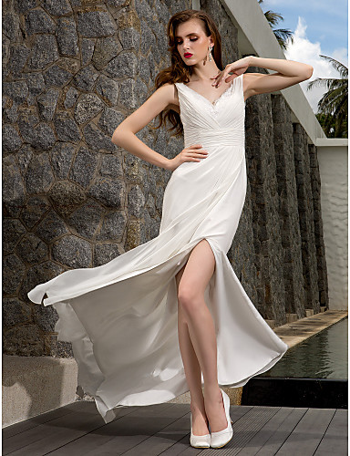 Sheath / Column V Neck Sweep / Brush Train Georgette Made-To-Measure Wedding Dresses with Beading / Appliques / Sash / Ribbon by LAN TING BRIDE®