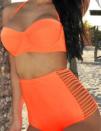 3e8e52b176a4 Mujer Halter Bikini Bañadores Sólido Cintura Alta Negro Naranja Azul ...