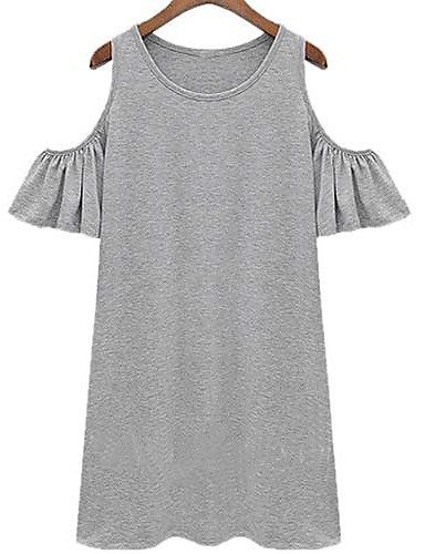 Women's Plus Size Solid Black/Gray Dress,Casual Round Neck Butterfly Sleeve