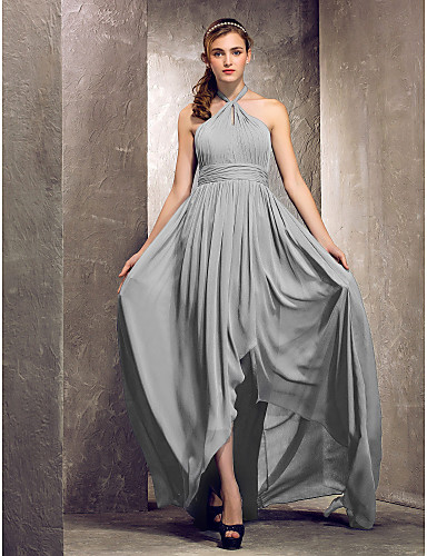 Sheath / Column Halter Neck Asymmetrical Chiffon Bridesmaid Dress with Side Draping / Ruched by LAN TING BRIDE® / Open Back