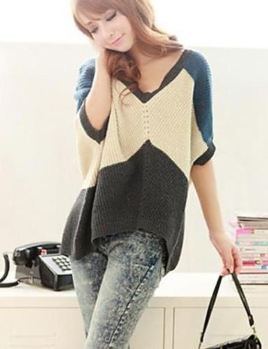 Kvinder Sweater Fashion Color V Collar Loose Sweater