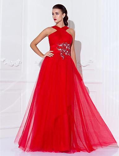 Sütun Yüksek Yaka Yere Kadar Tül Boncuklama Aplik Haç ile Resmi Akşam / Askeri Balo Elbise tarafından TS Couture®