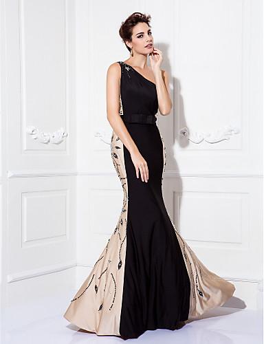 Trompete / Meerjungfrau Ein-Schulter Boden-Länge Jersey Abiball / Gala Kleid mit Perlenstickerei Schleife(n) durch TS Couture®