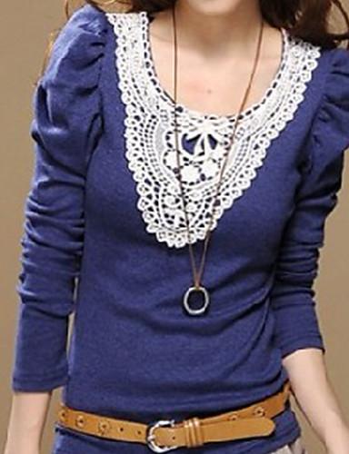 стильный слоеного рукав кружева украшены воротник блузки синий