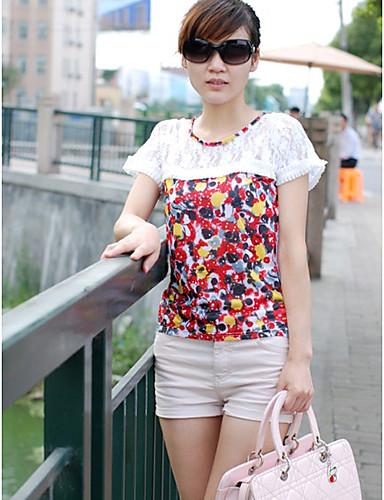 dantelă stil de moda impodobit T-shirt alb
