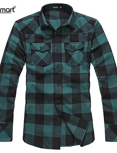 abordables Camisas de Hombre-Trabajo Algodón Camisa A Cuadros Rojo / Manga Larga
