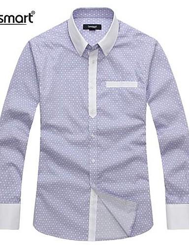 Camicia Per Uomo Ufficio Lavoro - Classico Tinta Unita, Tinta Unita Blu - Manica Lunga #02103592 I Cataloghi Saranno Inviati Su Richiesta
