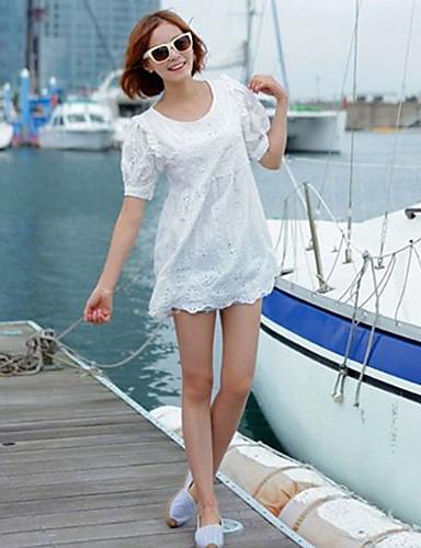 elegant dantelă gol rochie alb floare