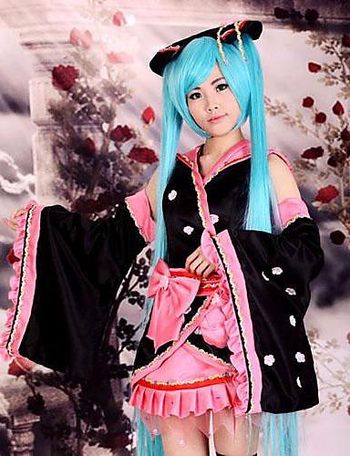 povoljno Anime kostimi-Inspirirana Vocaloid Hatsune Miku Anime Cosplay nošnje Japanski Cosplay Suits / Kimono Kolaž Dugih rukava Suknja / Glava / Rukavi Za Žene / Saten