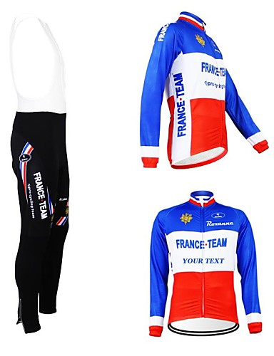 cheap Cycling Clothing-Customized Cycling Clothing Men's Women's Long Sleeve Cycling Jersey with Bib Tights France National Flag Bike Clothing Suit Thermal / Warm Fleece Lining Breathable Waterproof Zipper Reflective Strips