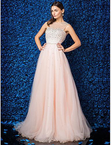 Linia -A Bijuterie Lungime Podea Tulle Bal Gală Elegantă Rochie cu Mărgele de TS Couture®