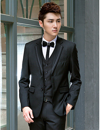 Tuxedos Slim Fit Slim Notch Single Breasted Two-buttons Polyester Solid