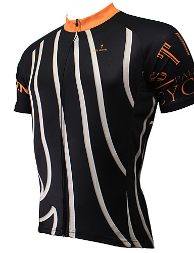 ILPALADINO Men s Short Sleeve Cycling Jersey - Black Stripes Bike Jersey  Top Breathable Quick Dry Ultraviolet Resistant Sports Polyester 100%  Polyester ... 568aa746a