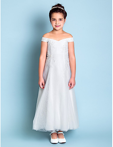 A-Line Ankle Length Flower Girl Dress - Lace Sleeveless Off Shoulder with Embroidery by LAN TING BRIDE®