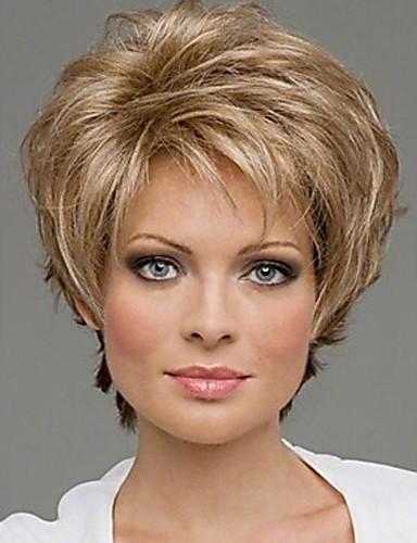 ราคาถูก Beauty & Hair-วิกผมสังเคราะห์ ความหงิก สไตล์ ไม่มีฝาครอบ ผมปลอม บลอนด์ สีบลอนด์ สังเคราะห์ 10 inch สำหรับผู้หญิง บลอนด์ วิก