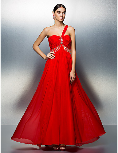 A-Line One Shoulder Floor Length Tulle Prom / Formal Evening Dress with Beading Crystal Detailing Ruched by TS Couture®