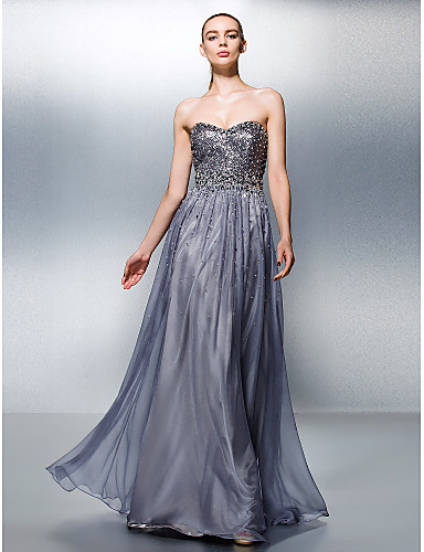 A-Linie Sweetheart Boden-Länge lyocell Promi-Stil Abiball / Formeller Abend Kleid mit Perlenstickerei / Paillette durch TS Couture®